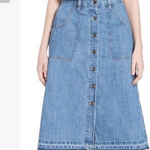 Free People A-Line raw edge Denim Midi Skirt